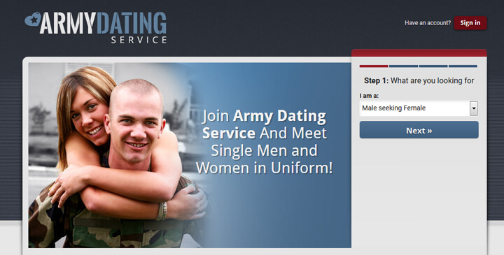 Army Dating Service homepage printscreen
