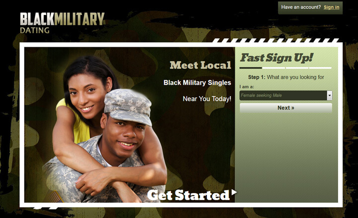 Black Military Dating homepage printscreen