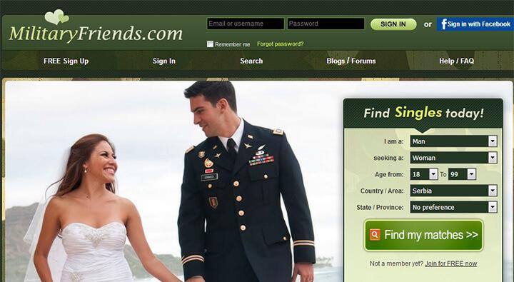 MilitaryFriends homepage printscreen