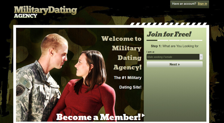 Military Dating Agency printscreen homepage