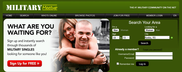 Military Meet Up printscreen homepage
