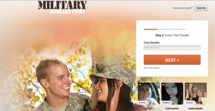 Military Singles Chat printscreen homepage